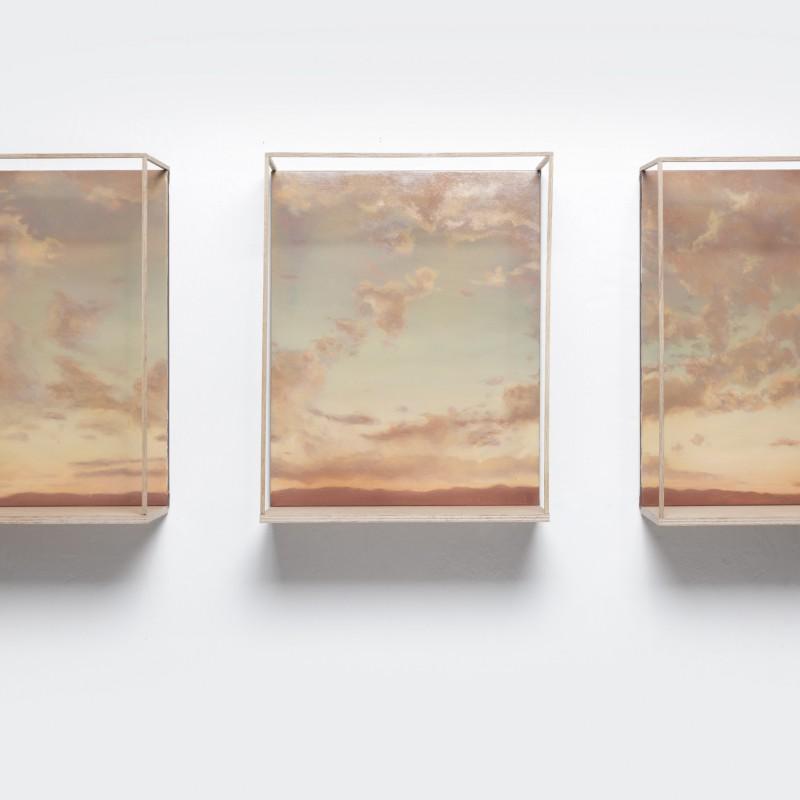 Priestor, 3x 50x40cm, olej na plátne, 2018